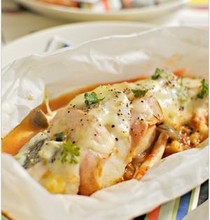 鱈とベーコンの重ね蒸し とろ~りトマトソースで
