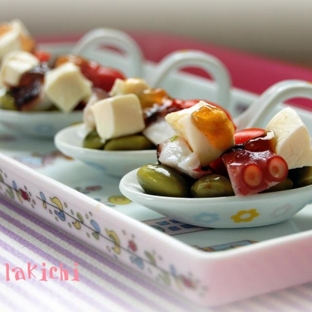 タコと枝豆とトマトとクリームチーズのジュレポン酢のっけ(レシピ)