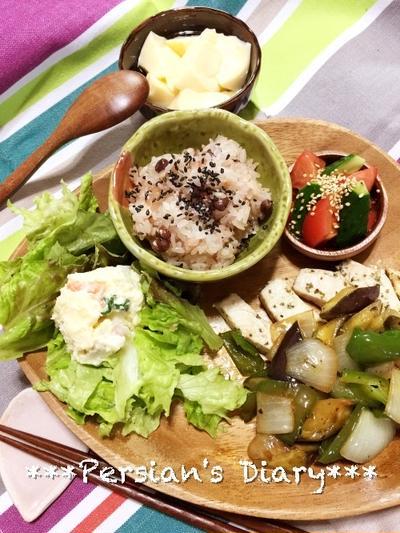 お赤飯と楽しむ!野菜たっぷりカジキのソテー♪
