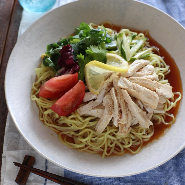 【レシピ】レモン蒸し鶏のさっぱり冷やし中華