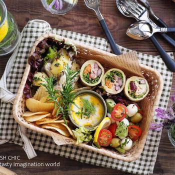 生地はHMで!ツナと豆のラップサンドと3種の副菜デリ風ランチバスケット