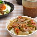 ちょい豚野菜丼とたまり漬け中華ドレッシングの晩ご飯。
