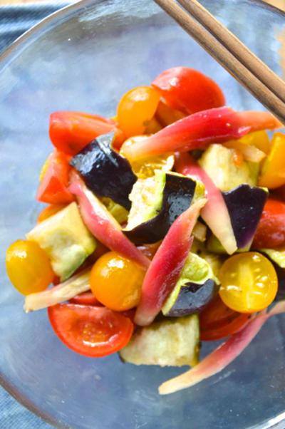 #533 水茄子とトマトとみょうがのサラダ バルサミコドレッシング