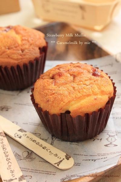 ふんわり♪いちごミルクマフィン(カップケーキのお菓子)