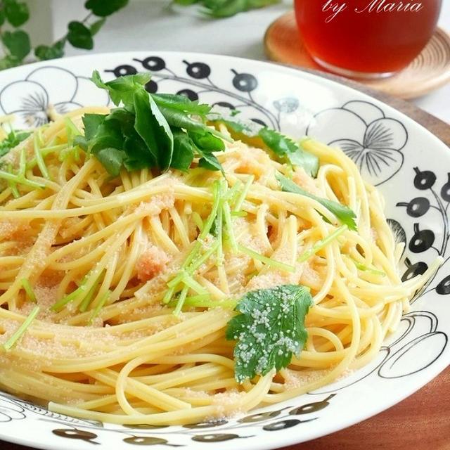 明太子と三つ葉のバター醤油スパゲティ