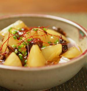 大根と赤貝のピリ辛レンジ煮