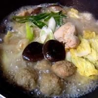 阿波尾鶏だし醤油味でちゃんこ鍋@モランボン、premium鍋の素