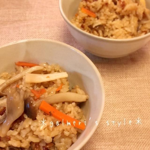 しめじ・エリンギ・舞茸♪3種のきのこの炊き込みご飯*圧力鍋使用