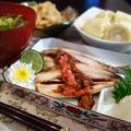 ■和食の朝ご飯【イワシ焼き・キャベツ甘辛煮付け・ジャガイモとインゲンの味噌汁】