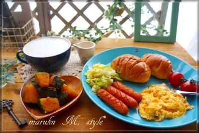 粉ふき芋風かぼちゃのシナモンバターのモーニングプレート&桜