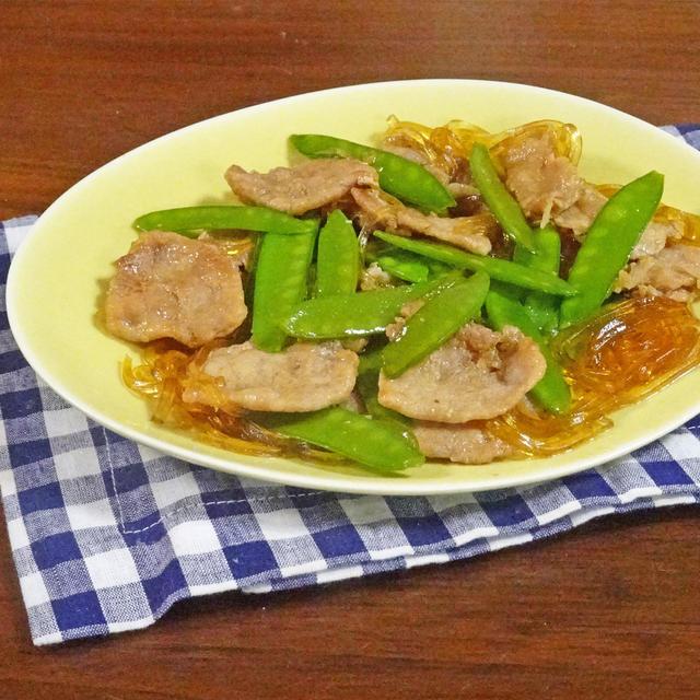 10分で簡単!箸が止まらなくなる 絹さやと豚肉の甘辛春雨炒め煮