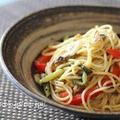 野沢菜とサーディンのスパゲッティ