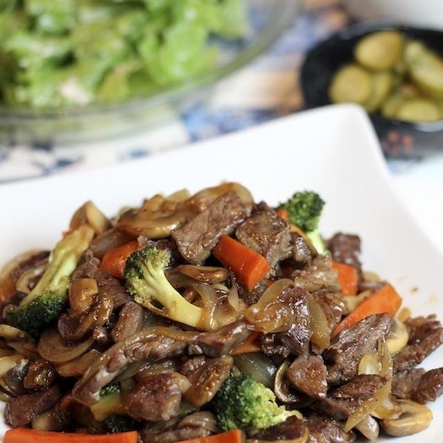 牛肉と残り野菜の中華風炒め、たまごっち