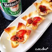 ぱりぱりピザ風☆ひとくちチーズおつまみ