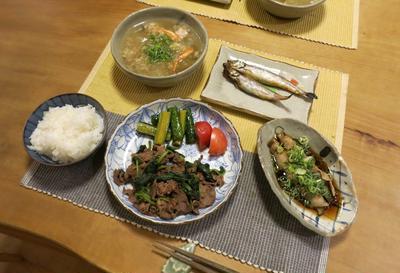 牛肉と法蓮草のシンプル炒めとあの人の♡りん料理 と めだかちゃん♪