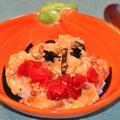ハロウィン風・納豆と油揚げの卵とじ丼