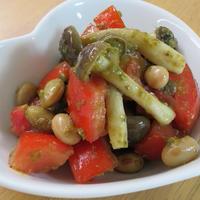 トマトときのこと豆サラダ☆バジル風味