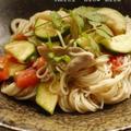 ズッキーニとトマトの素麺チャンプルー