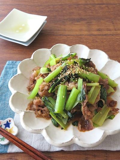 食欲そそるスタミナごはん◎牛肉と小松菜の辛みそ炒め