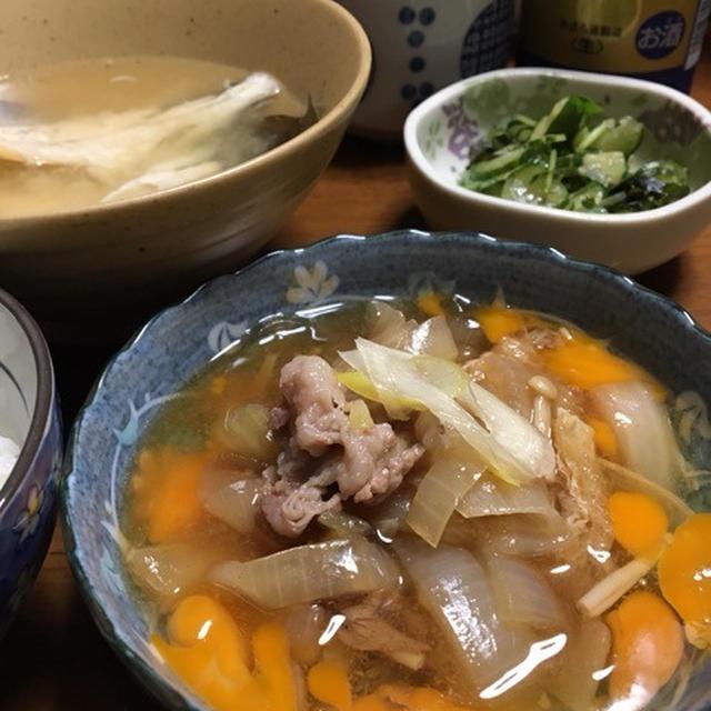 2/5☆夜ご飯☆すき煮風・鶏天・酢の物・茶碗蒸し・魚汁