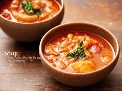 【レシピ】豚汁リメイク♪トマトカレースープ♡で誕生日献立♪そして事件勃発…