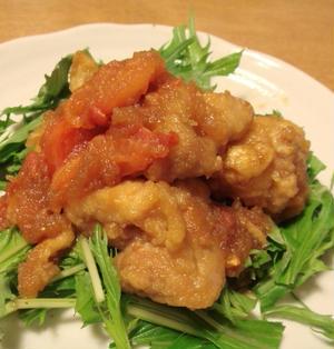 鶏の唐揚げとトマトの甘辛おろし煮