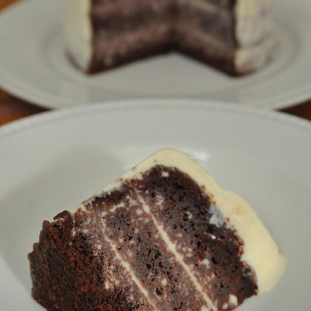 チョコレートのバニラアイスクリームケーキ