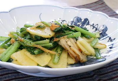 11/07/08 ジャガイモと小松菜とキムチのバジル炒め