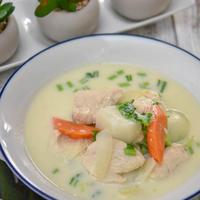 冬野菜とお肉の相性抜群おだしレシピ|だし香るチキンとかぶの豆乳スープ