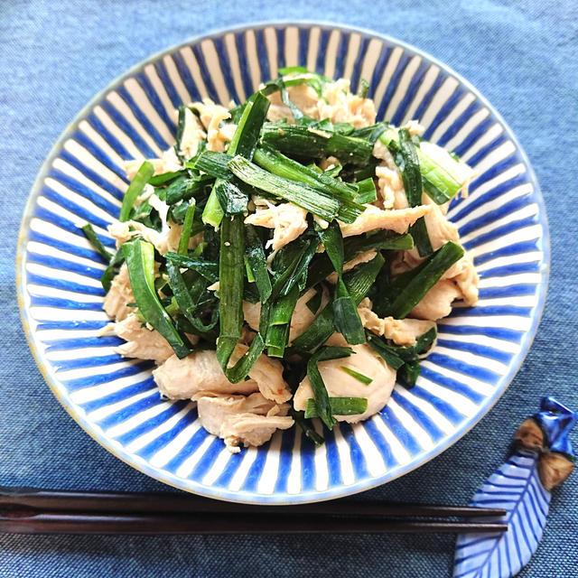 ささみとニラのごま油コンソメマヨ炒め(冷凍保存のささみ料理法)