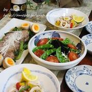 ◆煮豚にイカの自家製バジルソテーでおうちごはん♪~ゆるやか糖質制限中♪