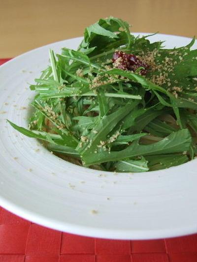 梅と水菜のペペロンチーノ
