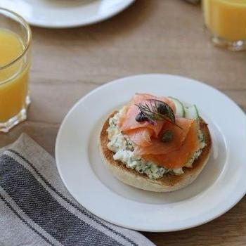 サーモンとディルマヨエッグの朝食マフィン