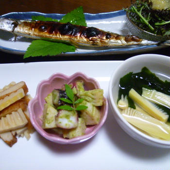 糠さんまと竹の子三種盛りの献立 夕ご飯(2日分)
