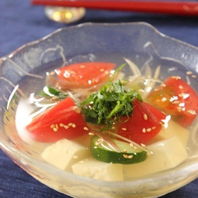 彩り野菜 冷やし豆腐