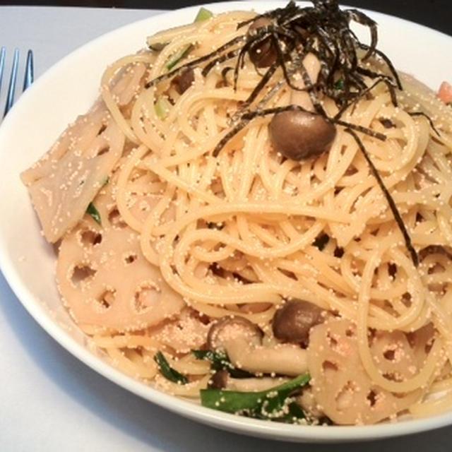 キノコとレンコンのタラコ明太子スパゲティレシピ(500カロリー)