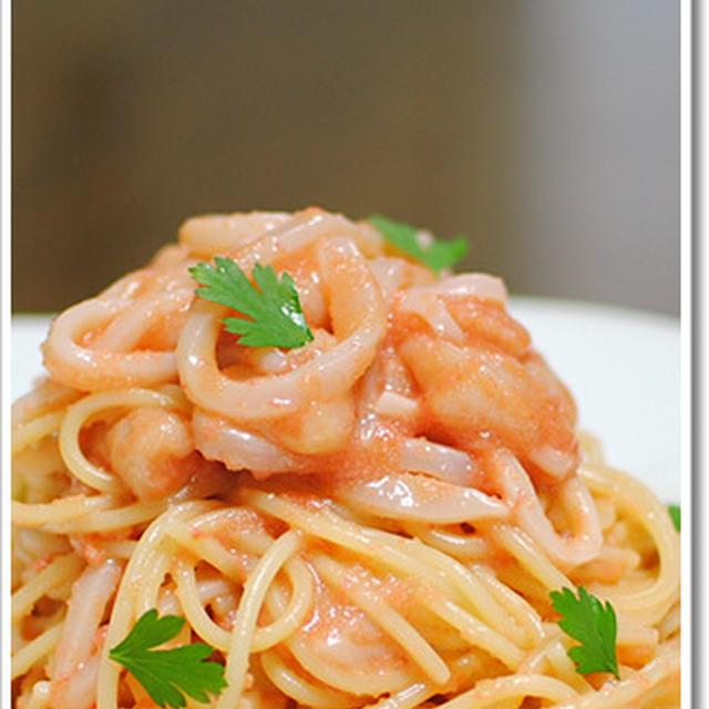タラコとイカソーメンの冷製スパゲッティーニ