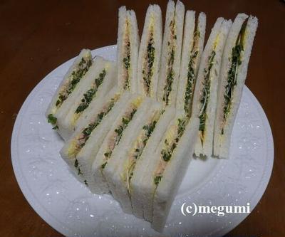 ブロッコリースプラウトとツナのサンドイッチ