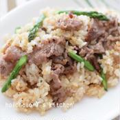 ココナッツオイルで作る!牛肉とアスパラガスのガーリックライス