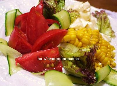 <夏野菜の元気サラダだよ♪トマトとコーンとポテトのサラダ>