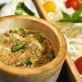 ■昼麵【一夜干しの焼き鯵入り冷や汁つけ麵】半田素麺使用です^^