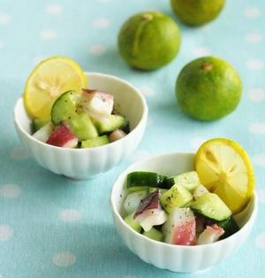 たこと胡瓜の和え物・オリーブすだち風味