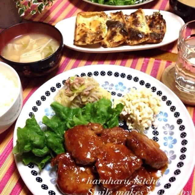 豚ヒレ肉のコク旨ソース・キャベツとツナのぽん酢サラダ・簡単おつまみ