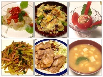 ホタテのマリネ、丸ごとトマトサラダ、色々キノコのチーズ焼き、豚のニンニク醤油焼き 7/1まとめ