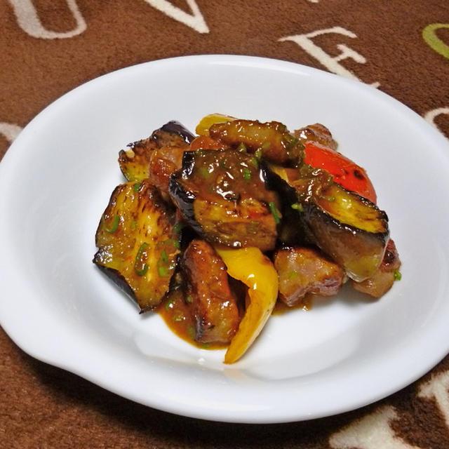 茄子と豚肉のピリ辛味噌炒め