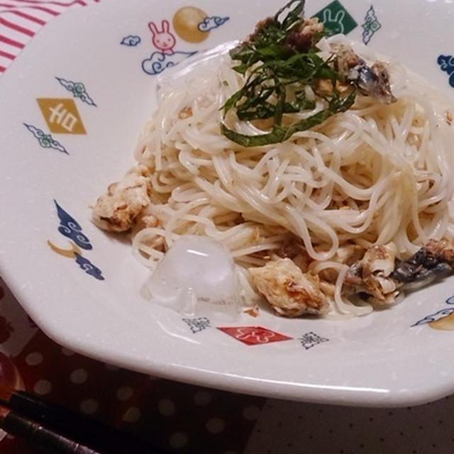 混ぜるだけ☆焼き鯖と梅のそうめん #ハウス食品 #お昼ごはん #素麺