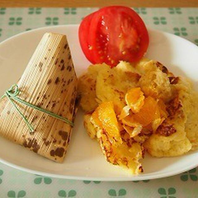 ■メニュー■マスタードソースハンバーグ、茸のラタトゥイユ風、ポテサラ、あおさの味噌汁*6月18日