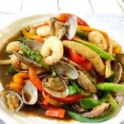 あさりと海老の野菜炒め【ガパオ味】