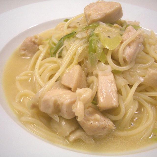 『鶏肉と長ネギのスープパスタ』