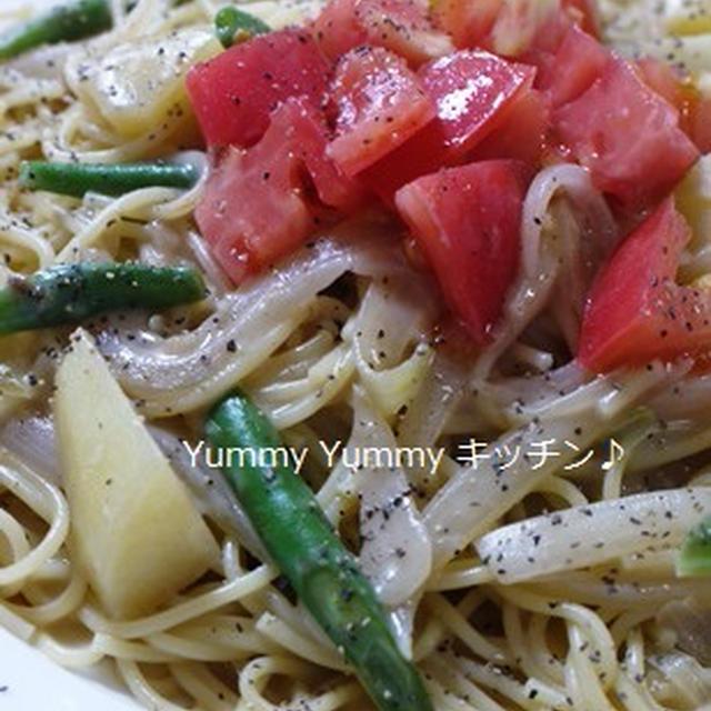 じゃがいもといんげん豆のアンチョビクリームスパゲッティ☆トマトのっけ♪お弁当はじまりました^^